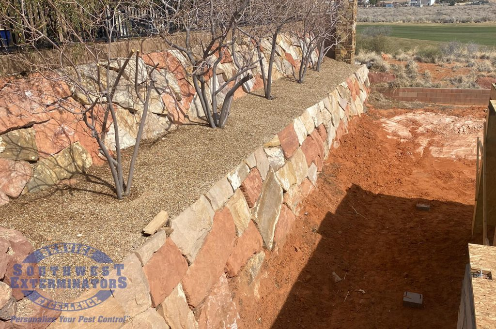sandstone retaining wall on the site of a new construction